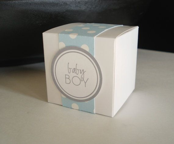 25 Baby Boy Favor Box for Baby Shower - Blue Polka Dot Trim and Gray Label via Etsy