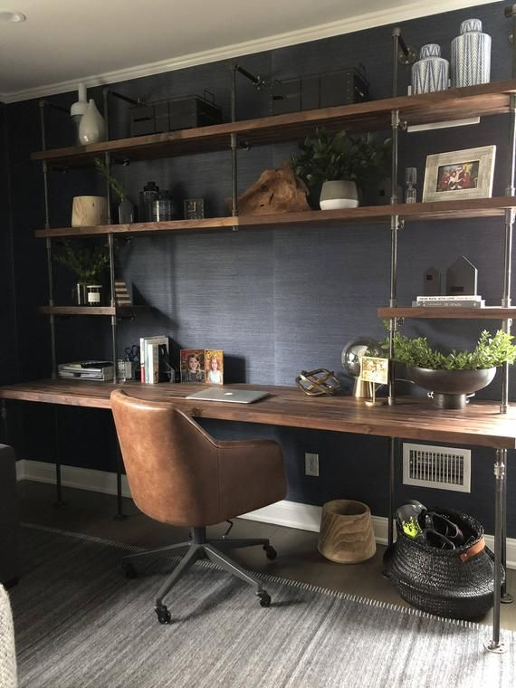 Butcher Block Office Desk Built-In