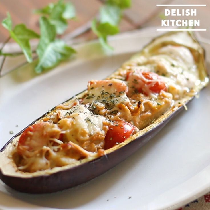 DELISH KITCHEN's dish photo 動画 オシャレに美味しく ナスのボートグラタンの作り方 delishkitchentv | http://snapdish.co #SnapDish #レシピ #朝ご飯 #お昼ご飯 #晩ご飯
