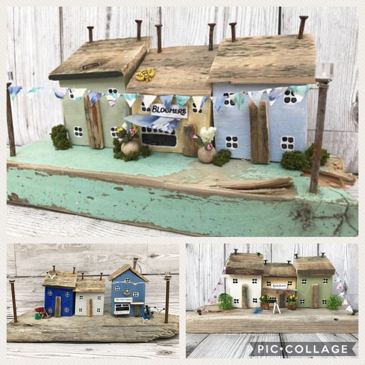 Personalised Driftwood art wooden house ornament and shop, birthday present gift idea for her