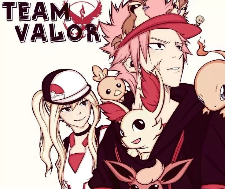 Natsu and Lucy Fairy Tail x Pokemon Go team valor