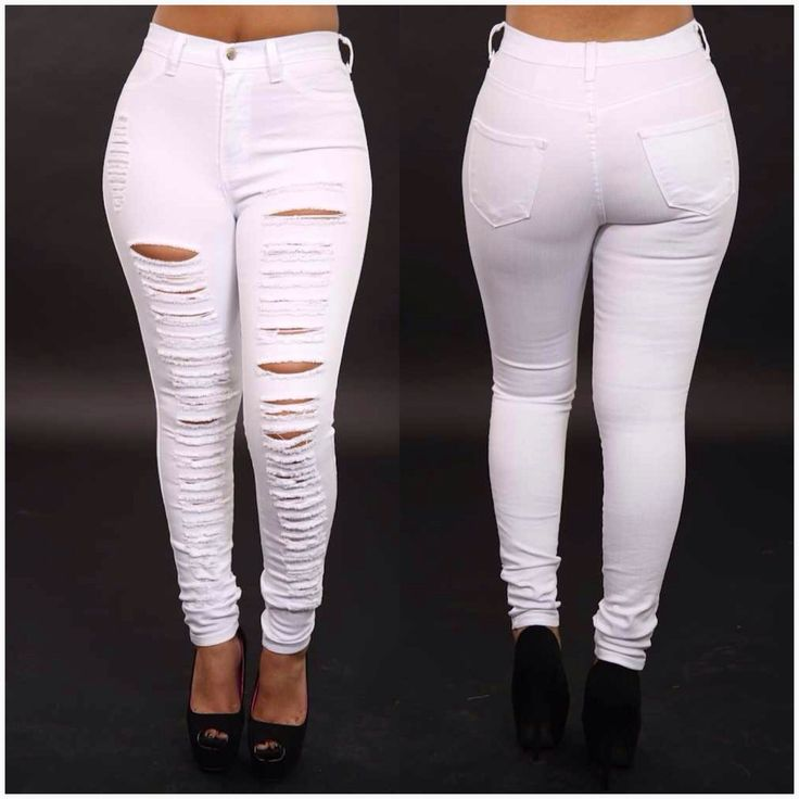 white high waisted destroyed jeans | Image of High Waisted ...