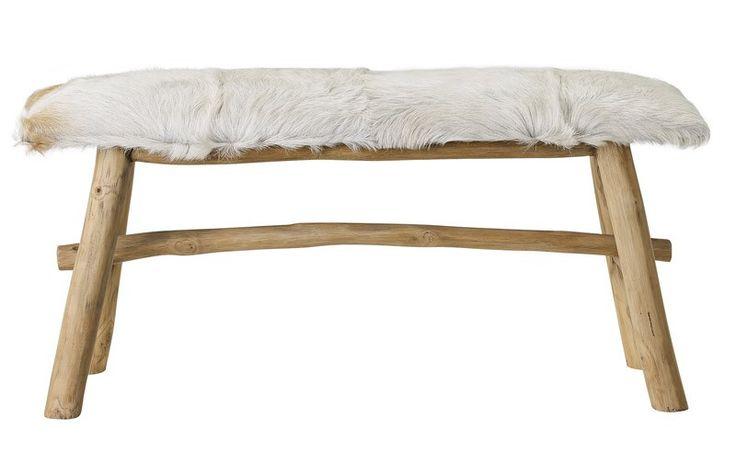 Bloomingville Wild Bænk - Bænk fra Bloomingville i teaktræ med sæde i lækkert gedeskin. Bænken har et naturligt look og bringer den nordiske historie ind i hjemmet.