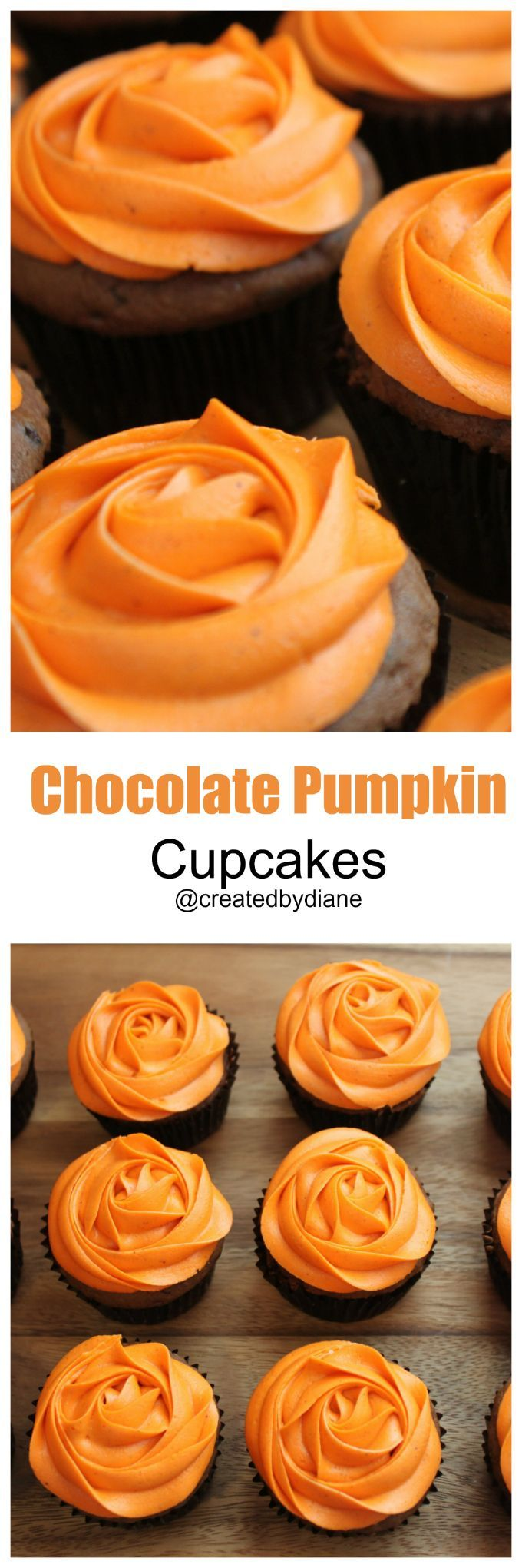 Chocolate pumpkin cupcakes recipe pumpkins created by for How to make halloween cupcakes from scratch