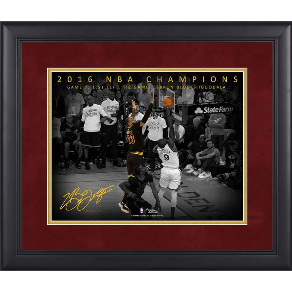 """LeBron James Cleveland Cavaliers Fanatics Authentic Framed 11"""" x 14"""" NBA Finals Game 7 Chasedown Block Moments Spotlight - $89.99"""