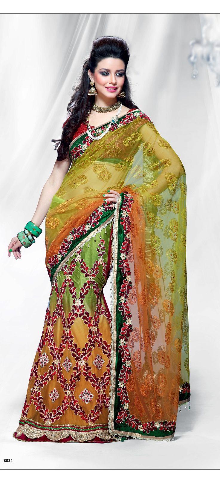 Khazanakart Heavy Embroidery Net Saree in Light Orange, Perrot Green and Mahendi Color