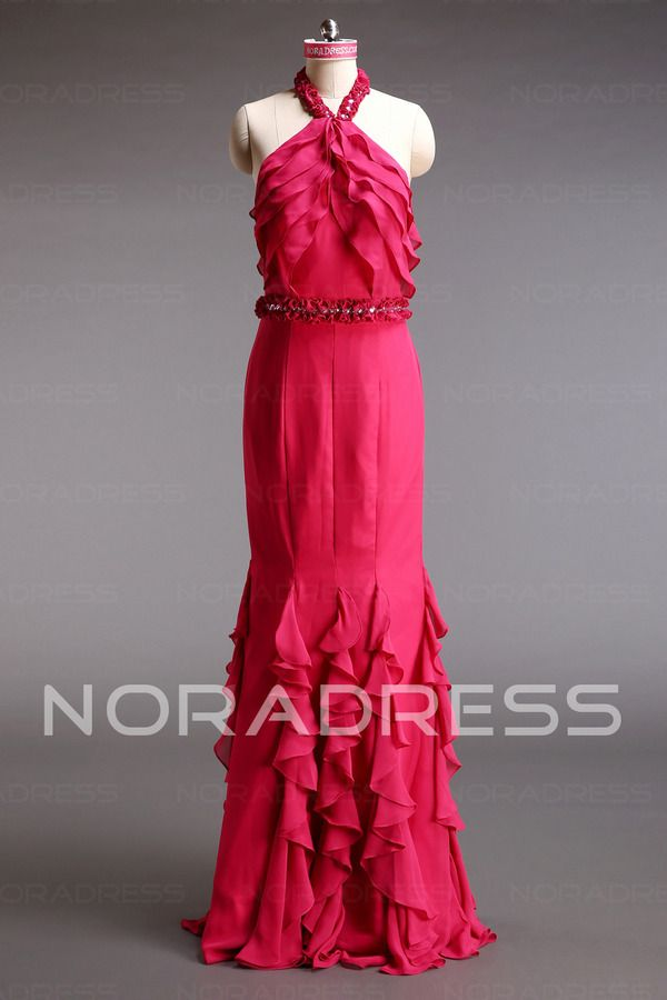 Elastic Satin Halter Bohemian Floor Length Extravagant Evening Dress With Tassel - Noradress