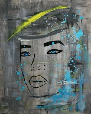 "Saatchi Art Artist Sokratis Romilios; Painting, ""Blue Eyes"" #art #painting #expressionism #pop"