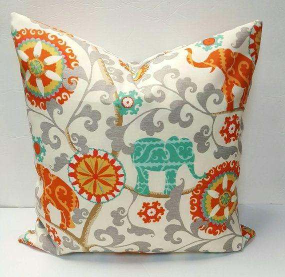 Elephants   Waverly Sun N Shade Menagerie Cayenne Decorative Indoor Outdoor  Pillow. / Lumbar / Bolster Cover With Hidden Zipper
