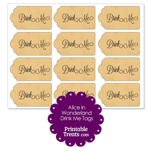 Free vintage alice in wonderland drink me tags from for Alice in wonderland tags template