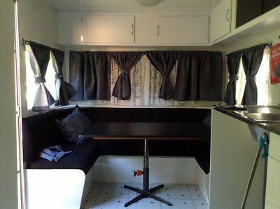lace vintage trailer curtains | caravan millard refurnished | Aussie Used Caravans