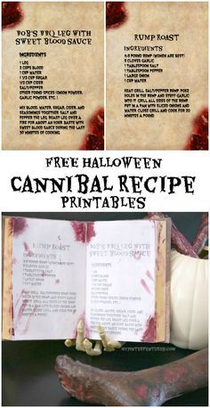 FREE Halloween Cannibal Recipe Printables for zombie, Walking Dead,or cannibal party decor. #Halloween #spooky #Halloweendecor #printable