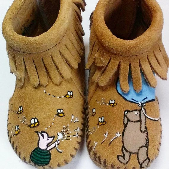 66 best baby stuff images on pinterest paint furniture child custom hand painted classic winnie the pooh baby moccasins negle Image collections