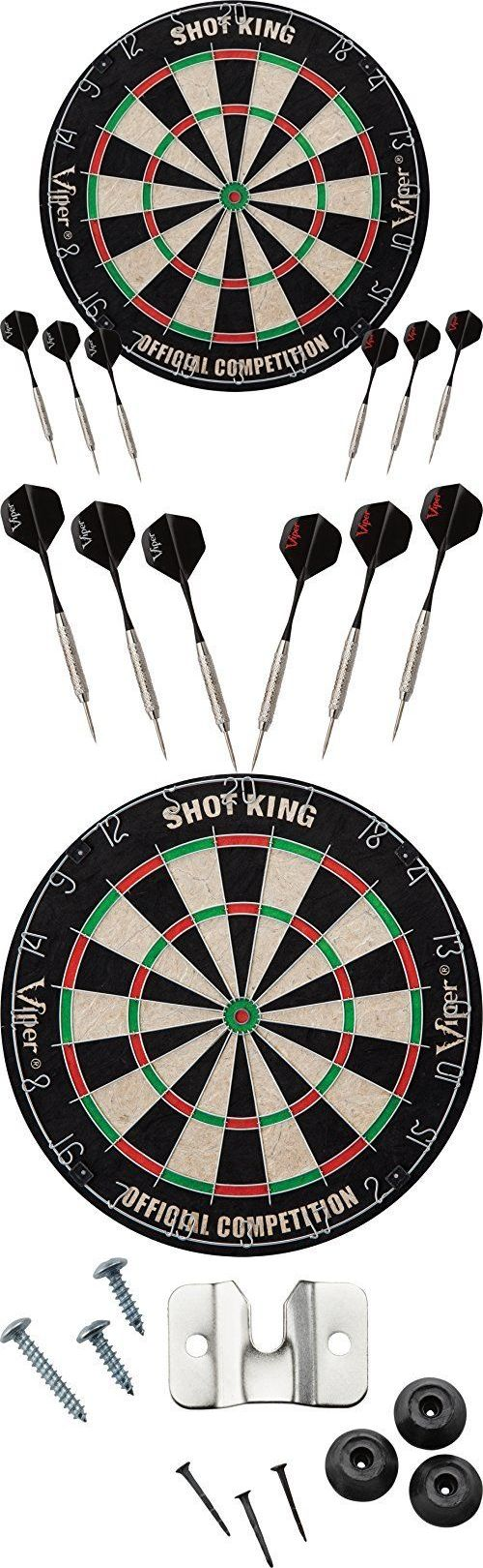 Dart Boards 72576: Shot King Sisal/Bristle Steel Tip Dartboard With 6 Darts By Viper BUY IT NOW ONLY: $47.98