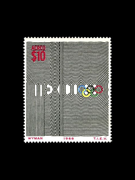 Stamp commemorating the Mexico Olympics by designer Lance Wyman