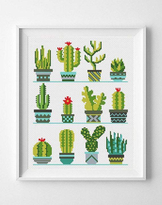 Kaktus-Kreuzstichmuster Sukkulente Kaktusblüten-Kreuzstich PDF Moderner Kreuzstich Süßer Kreuzstich Kreuzstich gezählt