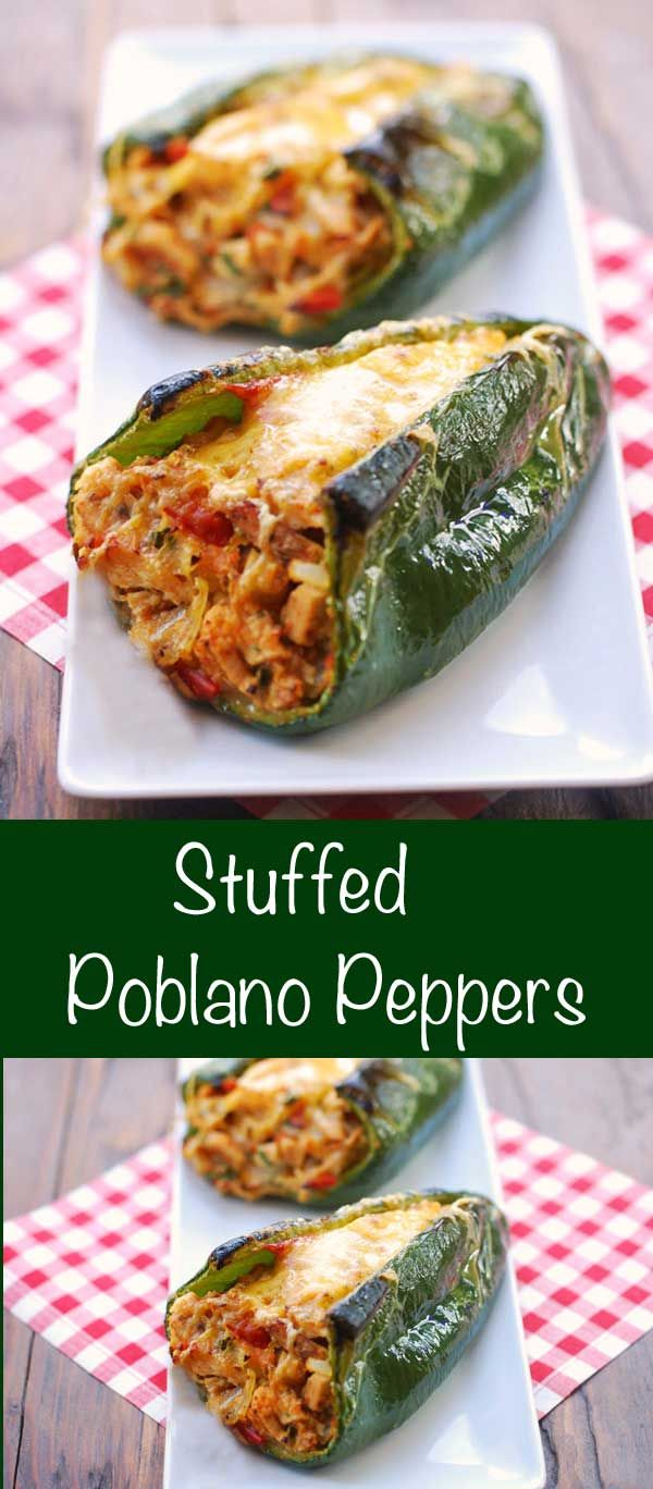 A fiesta of flavors and colors, these stuffed poblano peppers are delicious, gorgeous, and low carb. via @healthyrecipes