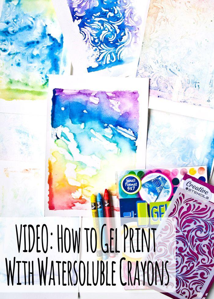 Gel Prints Using Watersoluble Crayons Like The Neocolor Ii Gelli