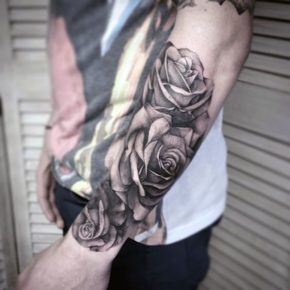 Forearm Sleeve Guys Realistic Rose Tattoo