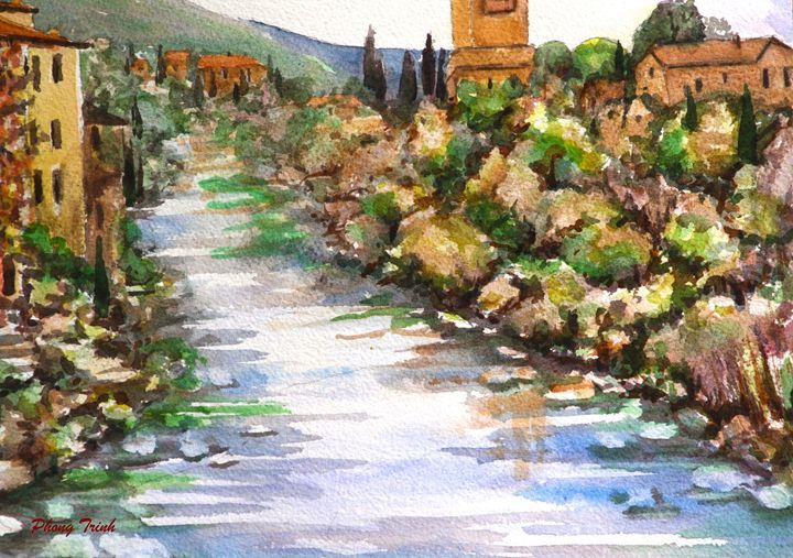 Lagrasse (8) - Phong Trinh Watercolor. More Fine Art Print Available at http://www.artpal.com/phongtrinh/