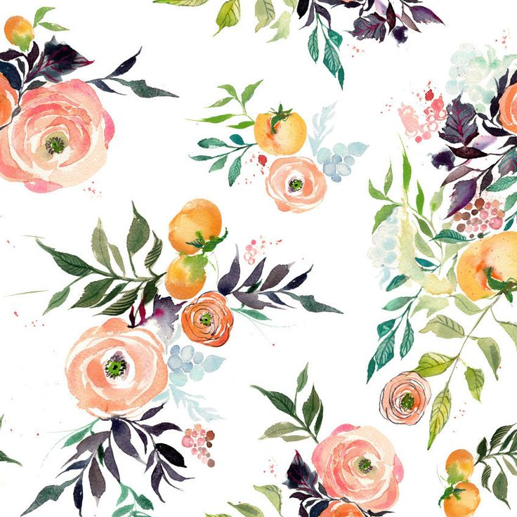 Fruits and Blooms Watercolor Fabric – KristyRice.com