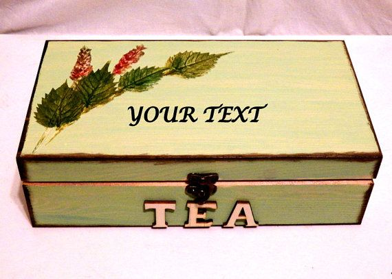 Caja de Bolsas de Té Caja de Té Grabada Caja de por Personalizedbox