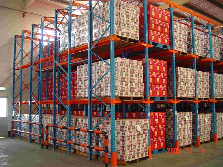 Drive-In rack consists of a continuous block of racking not divided by aisle, the blocks with no cross beam, the pallet is supported on front to back edge continuous rails cantilevered from the side of the upright at each pallet level.   skype:notsosimple610