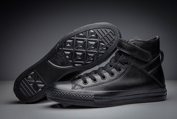 0a1104b6bdc Full Black All Star Converse Single Buckle Leather High  converse  shoes