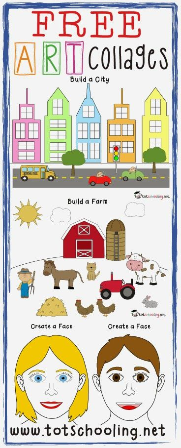 Free Art Collage Printables - Great idea! 4 Free Art Collages for your toddler, preschooler, or older child to practice their art skills! Includes Build a City, Build a Farm, Create an Ocean, and Create a Face. Includes both color and black and white cut-outs.  Could be a great sorting activity