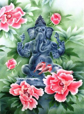 peonies and Ganesha - dilip patel