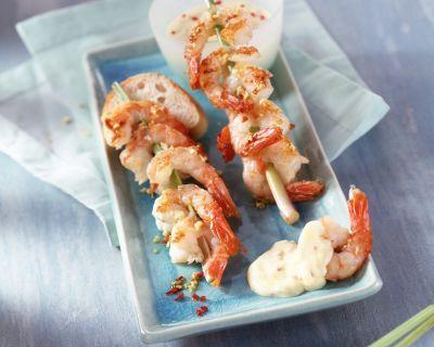 Krevetové špízy v pikantní šafránové omáčce