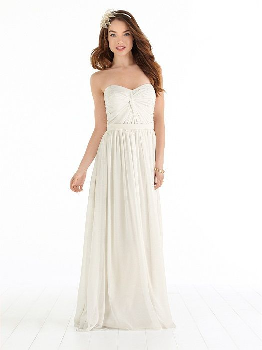 Full length chiffon strapless wedding dress has twist drape bodice. Natural waist. Matching self belt and sweep train. Available in regular or plus sizes 00-30W, and 00-30W extra length.View Size Chart