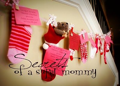 Adorable Valentines sock advent with different activity or small gift each day.  Totally going to do this.