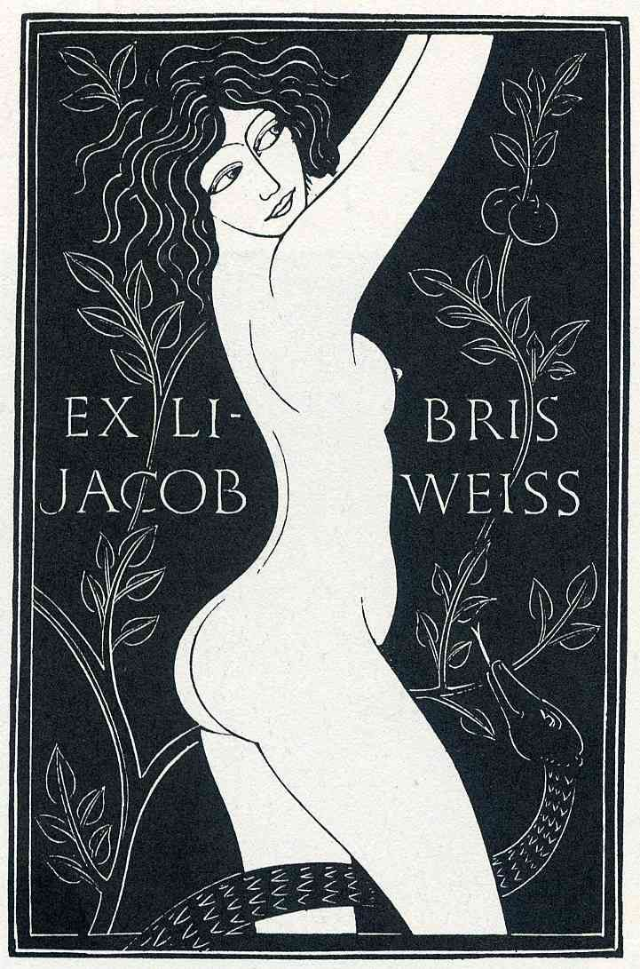 Eric Gill - Eve in the garden. Exlibris of Jacob Weiss