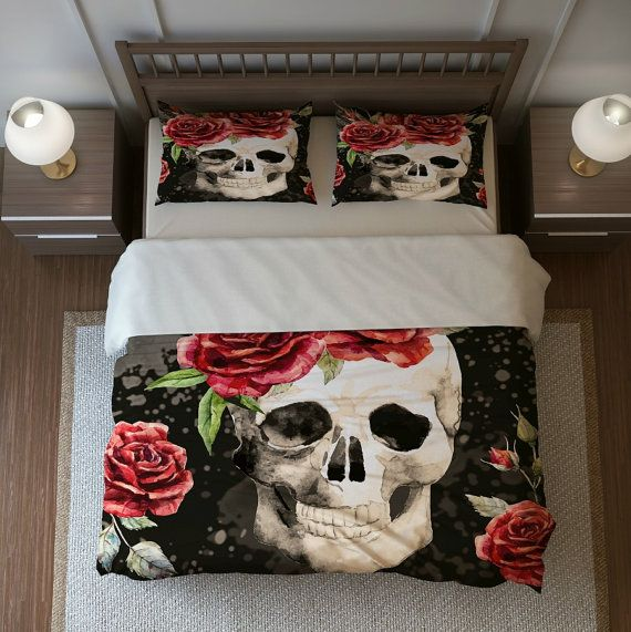Sugar Skull Duvet Cover Set Skull Bedding Pillow by FolkandFunky