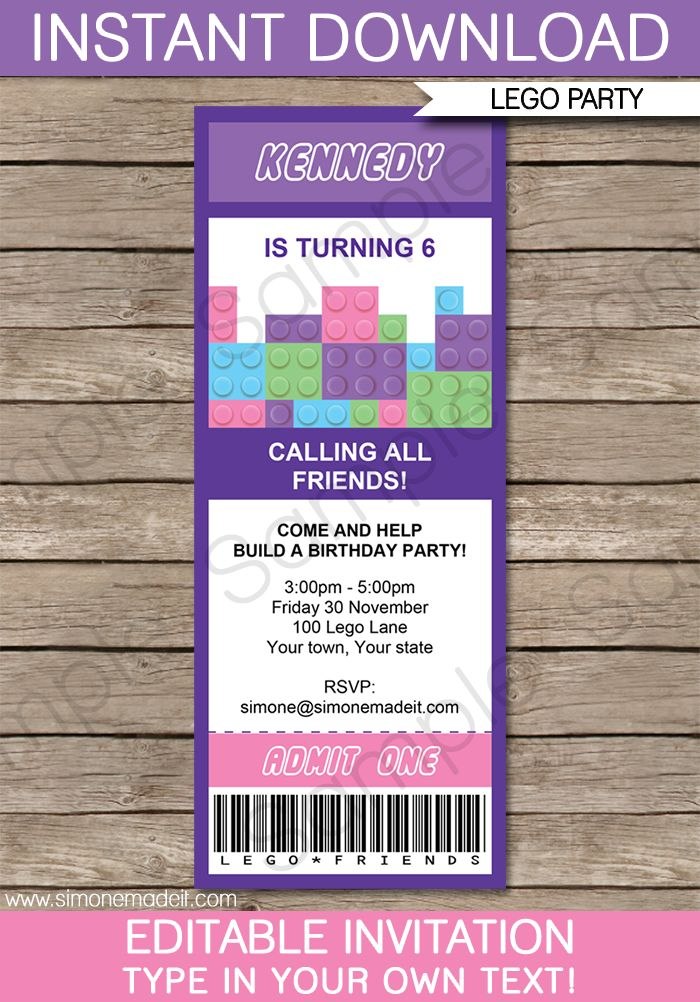 Lego Friends Ticket Invitations | Birthday Party | Editable DIY Theme Template | INSTANT DOWNLOAD $7.50 via SIMONEmadeit.com
