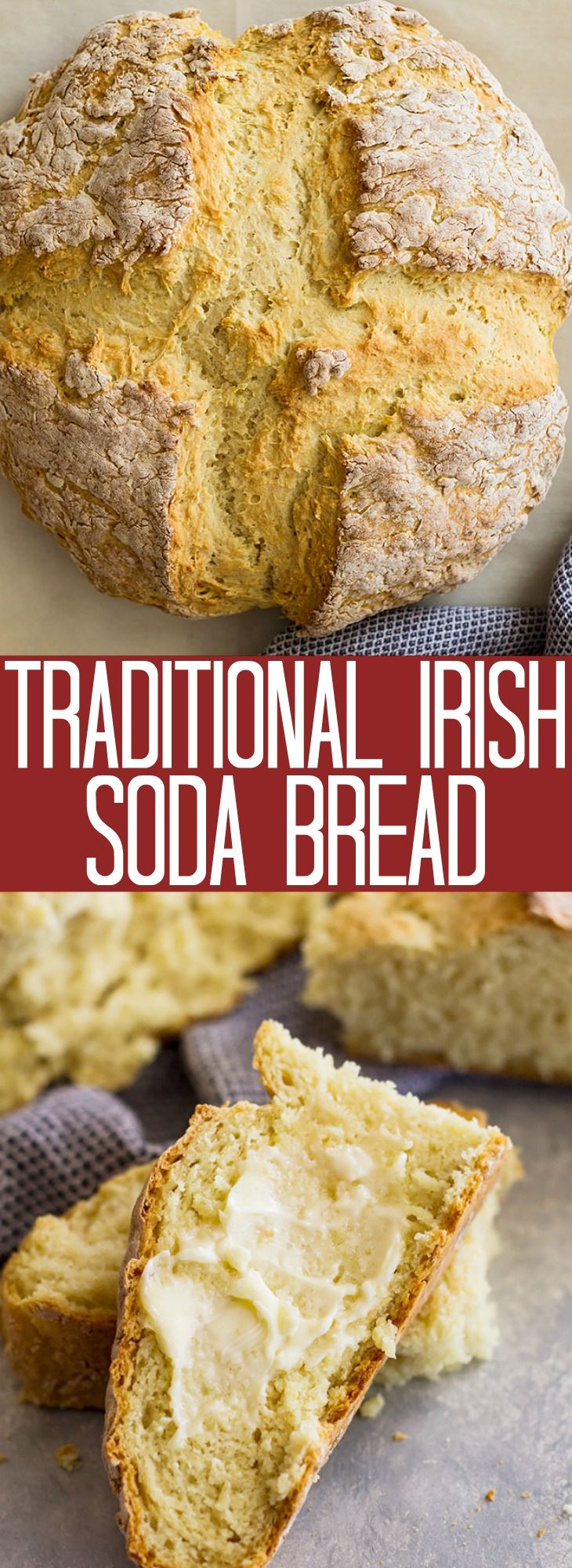 Traditional Irish Soda Bread - this Irish Soda Bread recipe only requires 4 ingredients! It doesn't use yeast so it's simple to make!