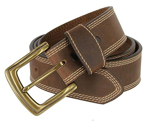 FRONHOFER Stylish genuine leather belt 1.2//3cm matte silver buckle and keeper