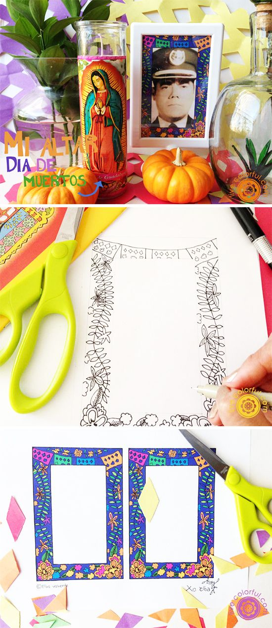 Decorate the pictures on your Day of the Dead altar with this colorful and fun free printable! | LiveColorful.com