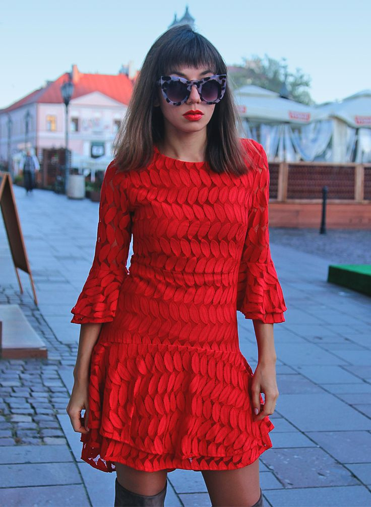 red lace dress with bell sleeves: http://jointyicroissanty.blogspot.com/2017/10/dress-is-always-good-idea.html