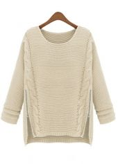 Laconic Round Neck Long Sleeve Woman Sweaters Beige