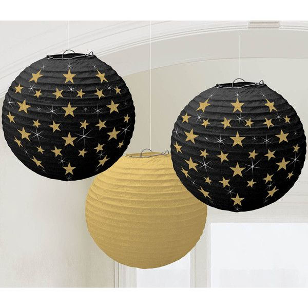 ????Each package contains: Two 9.5 inch black lanterns with shimmery gold stars and white starbursts One 9.5 inch metallic gold lantern White string for hanging Our lanterns are constructed on a colla
