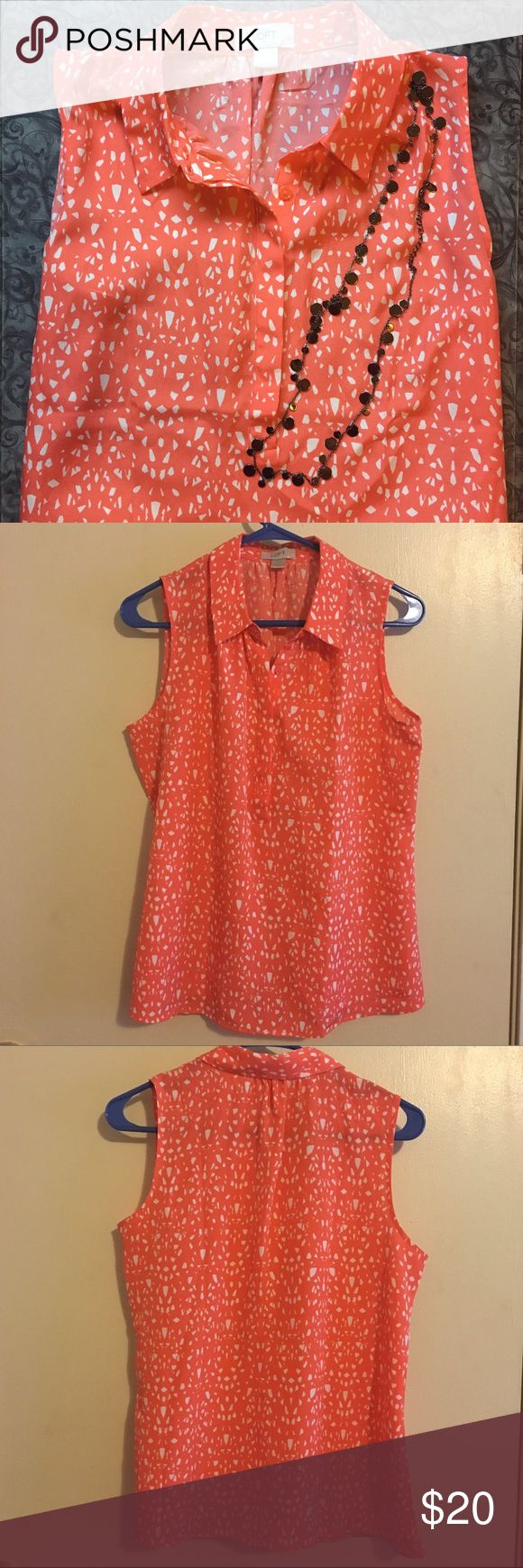 Ann Taylor LOFT dark peach colored sleeveless top Ann Taylor LOFT sleeveless top. Dark peach color with white pattern throughout. Hidden buttons on the front. Perfect for a casual day at the office or for running errands. Size small. Reasonable offers are always welcome. LOFT Tops