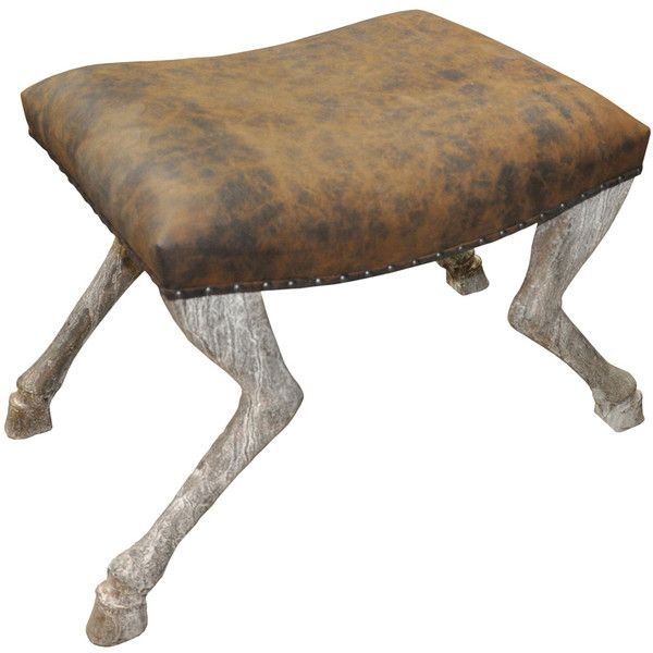 Noir Trading Inc. Claw Leg Saddle Stool - White Weathered found on Polyvore featuring polyvore, home, furniture, stools, saddle stool, white furniture, weathered white furniture, distressed white furniture and aged furniture