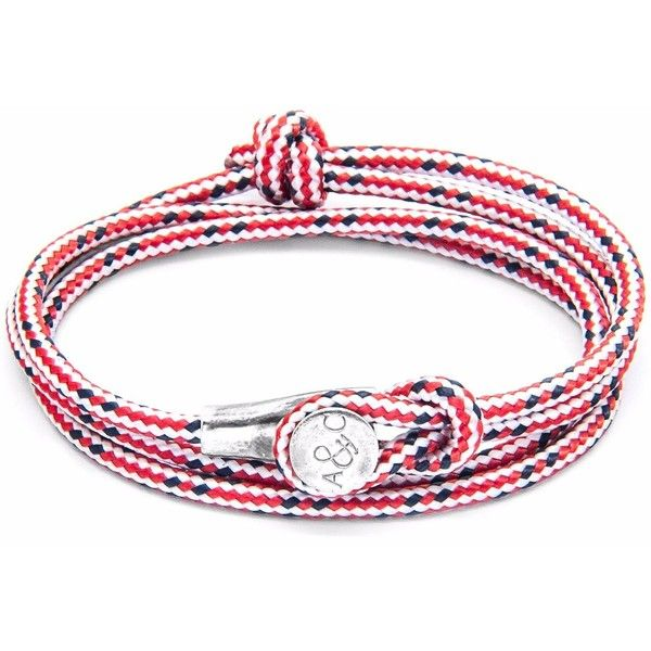 ANCHOR & CREW - Red Dash Dundee Silver & Rope Bracelet ($90) ❤ liked on Polyvore featuring men's fashion, men's jewelry, men's bracelets, mens silver bracelets, mens stacked bracelets and mens nautical bracelets
