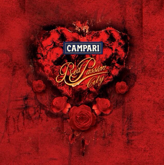 Campari liqueur & heart shape label Poster