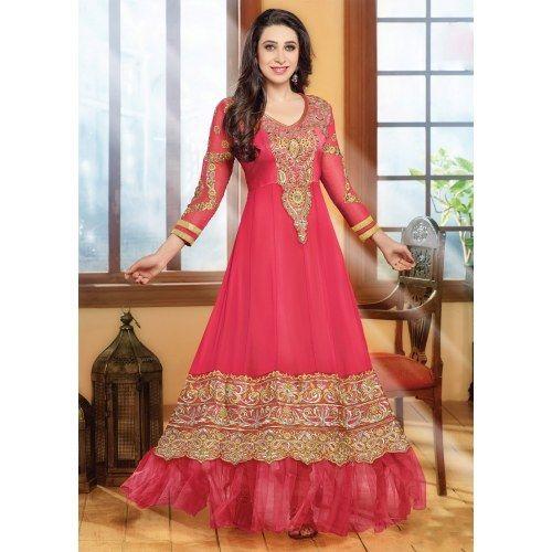 Karishma Kapoor  Georgette Pink Semi Stitched anrkali SuitKarishma Kapoor  Georgette Pink Semi Stitched anrkali Suit
