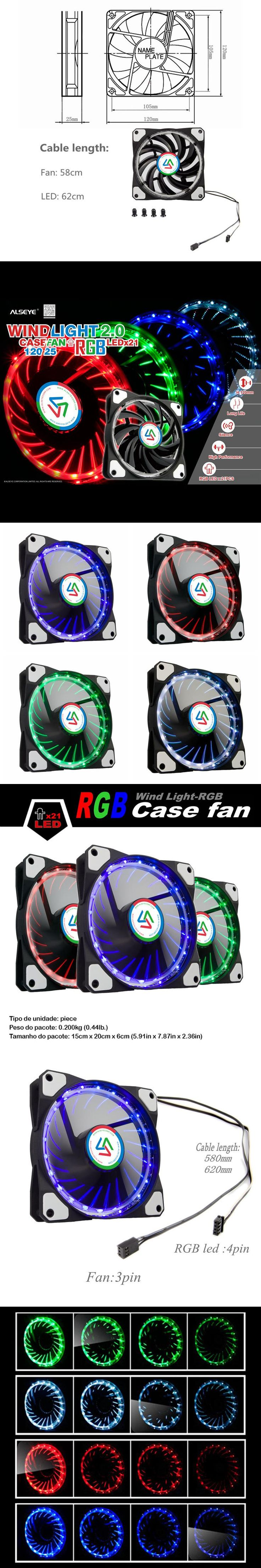 ALSEYE 120mm RGB LED Computer Fan for PC Case / CPU Cooler / Water Cooling Radiator 12v 1100RPM Case Light Multicolor LED fan
