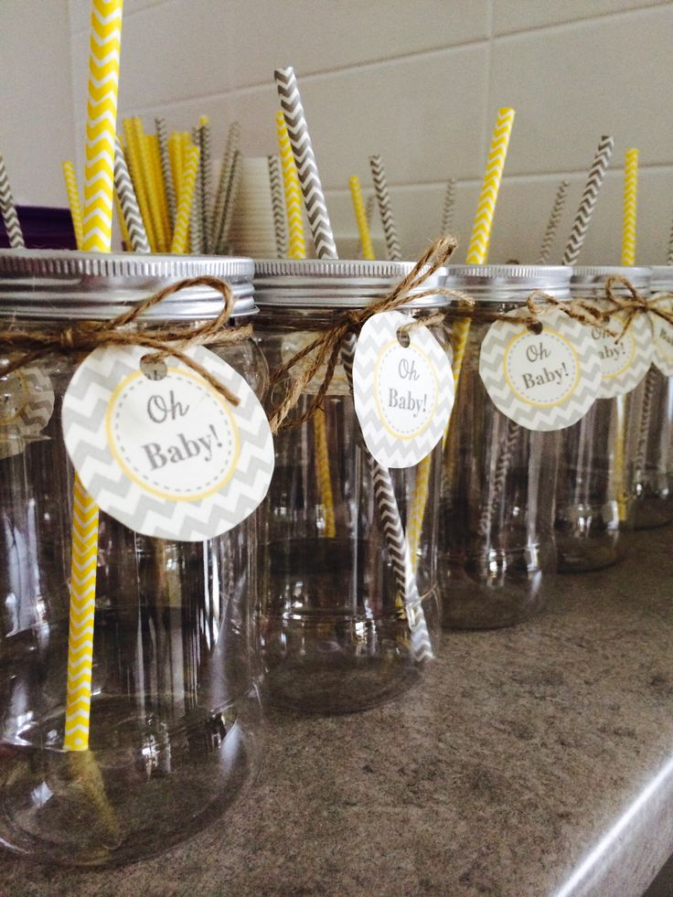 """Plastic mason jars with """"oh baby"""" tags and chevron straws"""