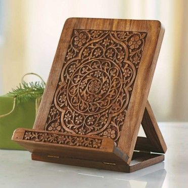 Wooden iPad Stand - from Viva Terra. . . . this beautiful Indian wood stand . . .